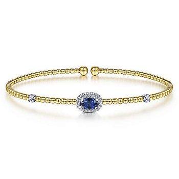 14K Yellow Gold Diamond and Sapphire Beaded Bracelet