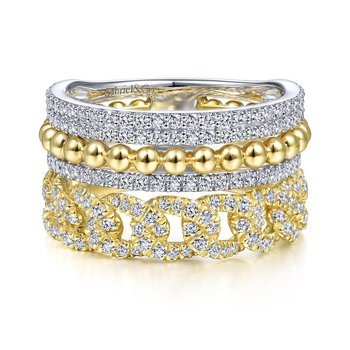 14K White And Yellow Gold Stacked Diamond Fashion Ring