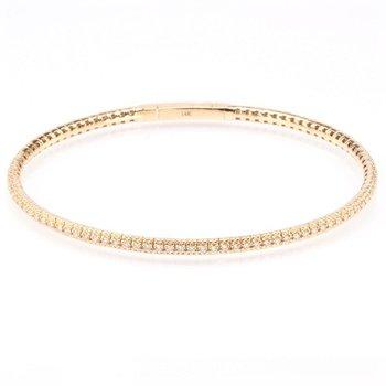 14K Gold & Diamond Flexible Bangle