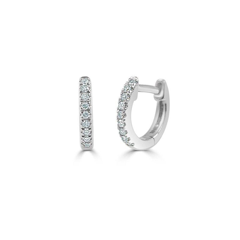 14K Gold Diamond Huggies