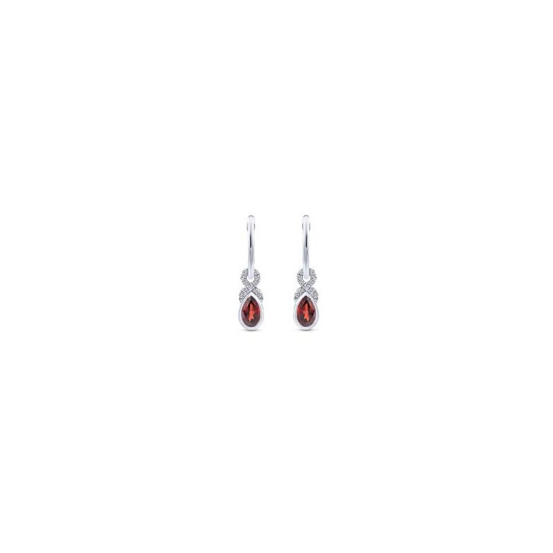 14K White Gold Garnet Dangle Earrings