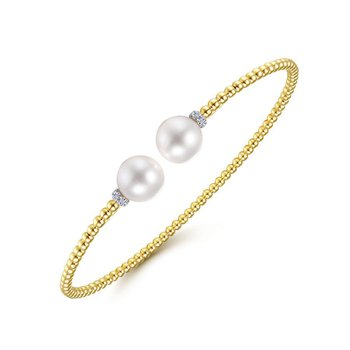 14K Yellow Gold Pearl Bangle Bracelet