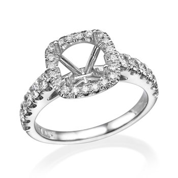 18K White Gold Engagement Ring Mounting With Round Diamonds