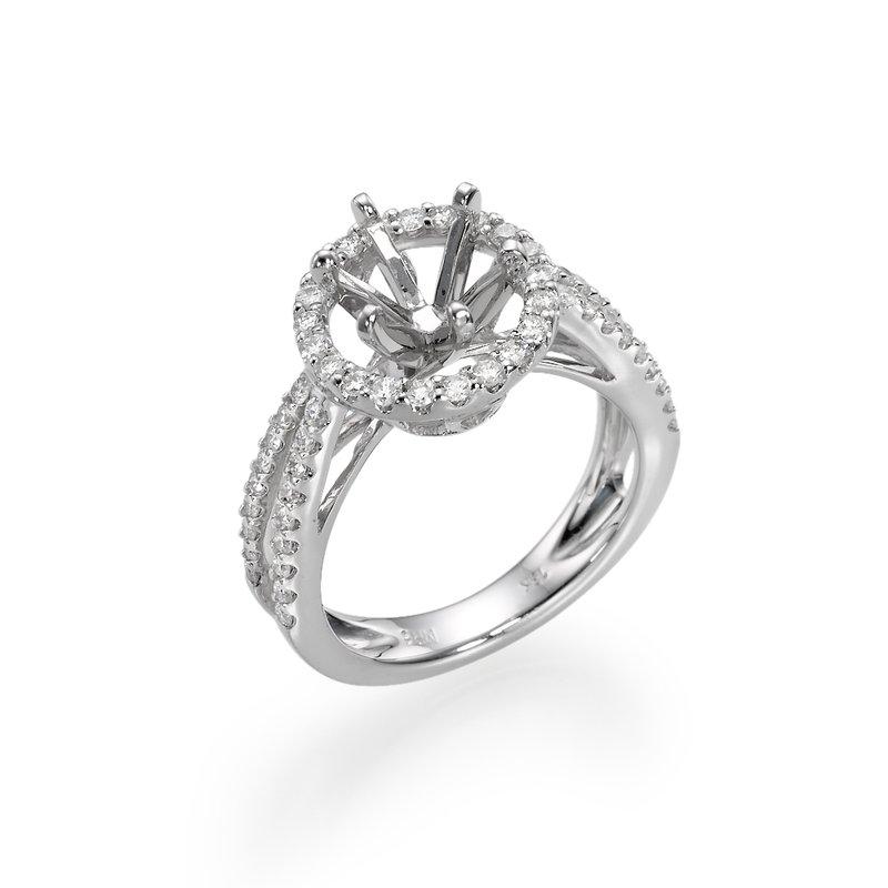 18K White Gold Split Band Halo Engagement Ring Mounting