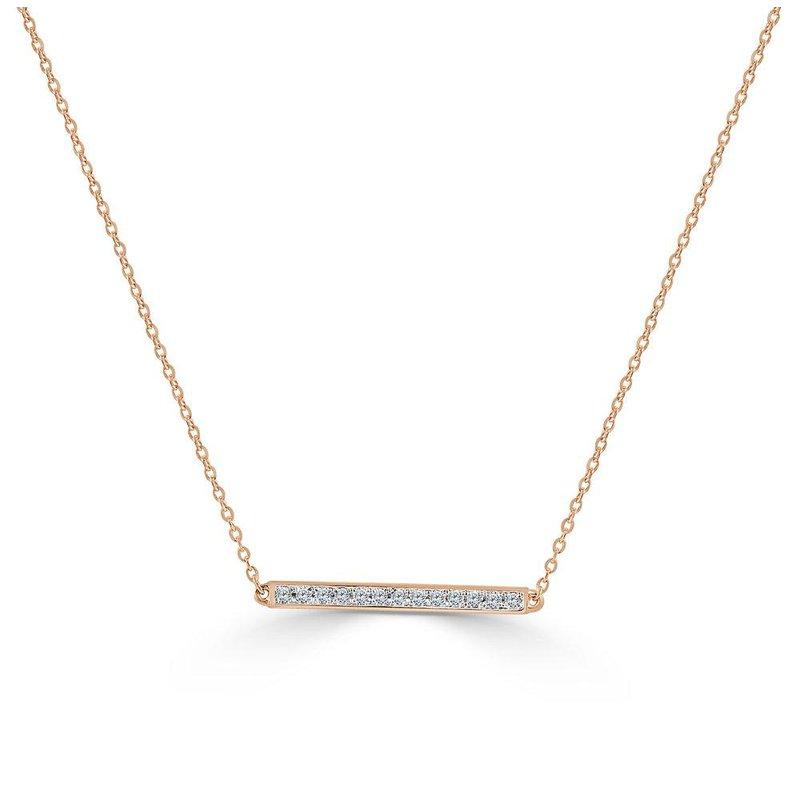 14K Gold Diamond Straight Bar Necklace