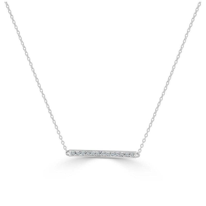14K Gold Diamond Straight Bar Necklace