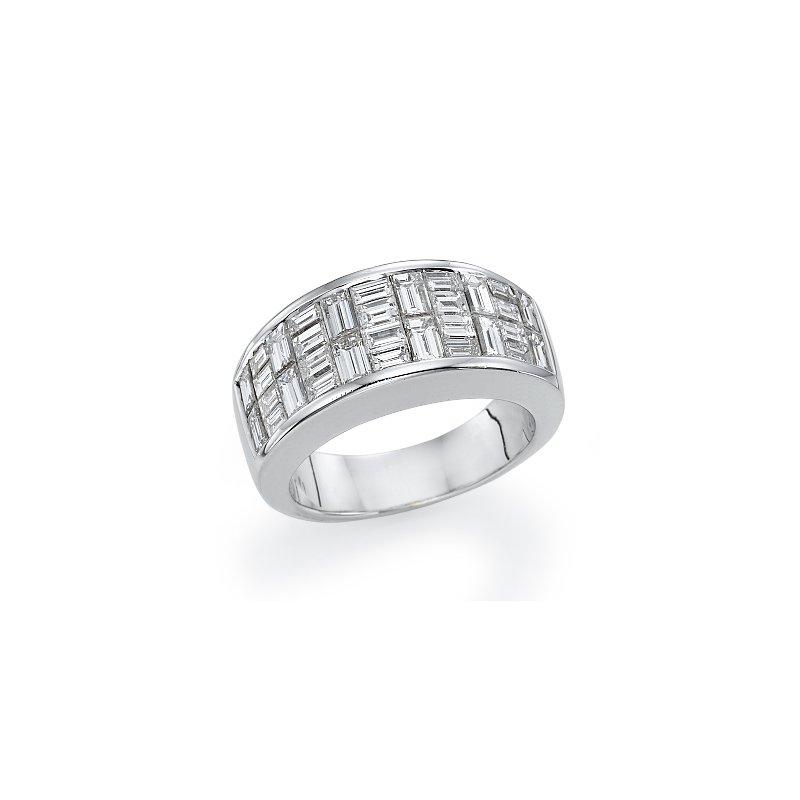 18K White Gold Woven Baguette Fashion Ring