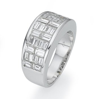 18K White Gold Woven Baguette Fashion Ring