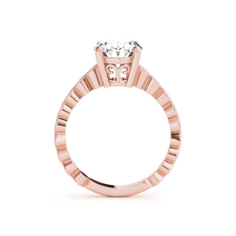 Vintage Inspired Milgrain Oval Engagement Ring Mounting