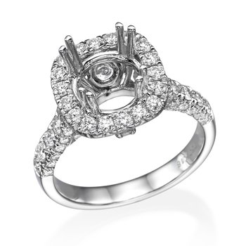 18K White Gold 1.25Ctw Diamond Halo Mounting