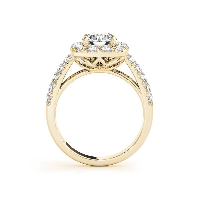 Double-Row Halo Diamond Engagement Ring Mounting