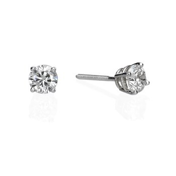 14K White Gold .68ctw Round Diamond Studs