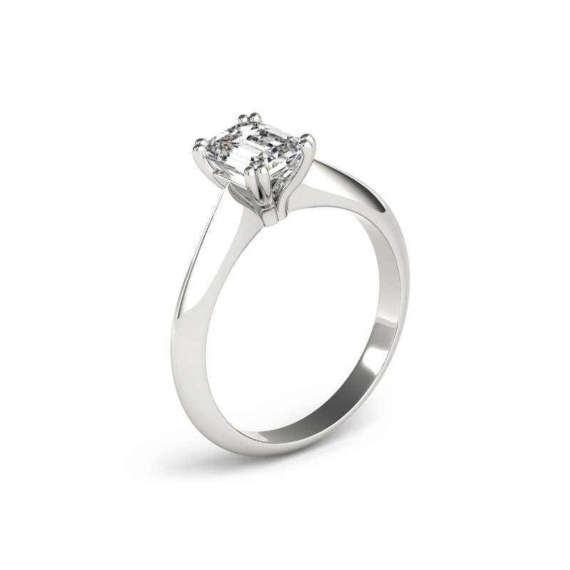Tapered Solitaire Emerald Engagement Ring Mounting