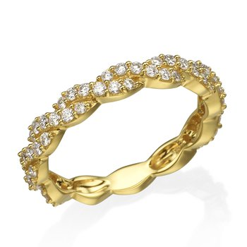 14K Yellow Gold Twisted Diamond Band