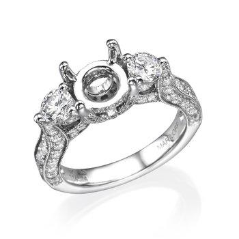 18K White Gold Vintage Three-Stone Engagement Ring Mounting