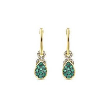 14K Yellow Gold Diamond And Emerald Dangle Earrings