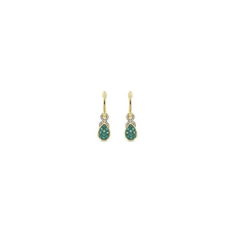 14K Yellow Gold Diamond And Emerald Dangle Earrings
