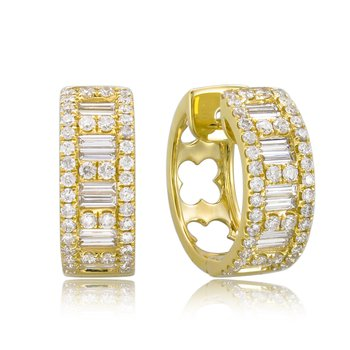 18K Gold & Baguette Diamond Huggie Hoop Earrings