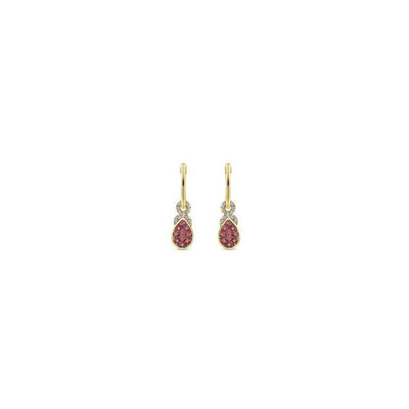 14K Yellow Gold Diamond And Rudy Dangle Earrings