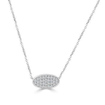 14K Gold Oval Pave Diamond Pendant