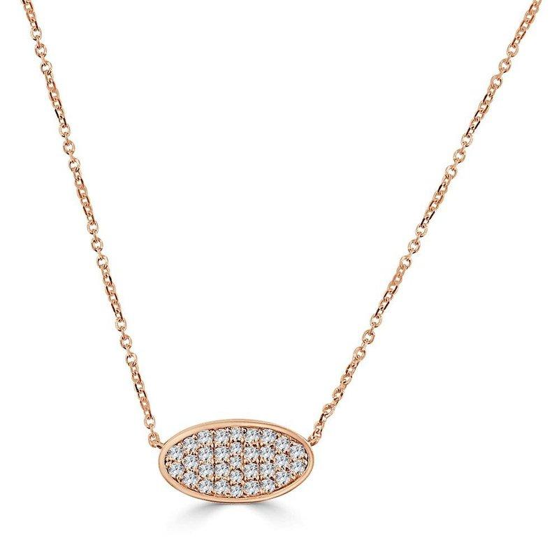 14K Gold Oval Pave Diamond Pendant