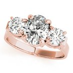 Traditional Oval Three-Stone Engagement Ring Mounting