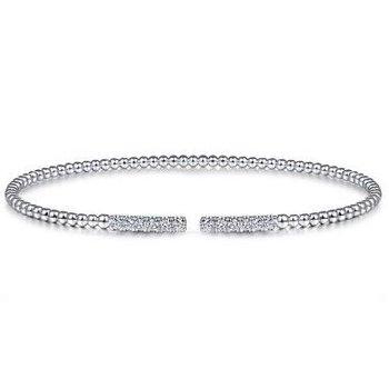 14K White Gold Diamond Cuff