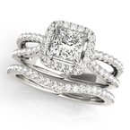 Split Band Princess Cut Halo Engagement Ring Mounting