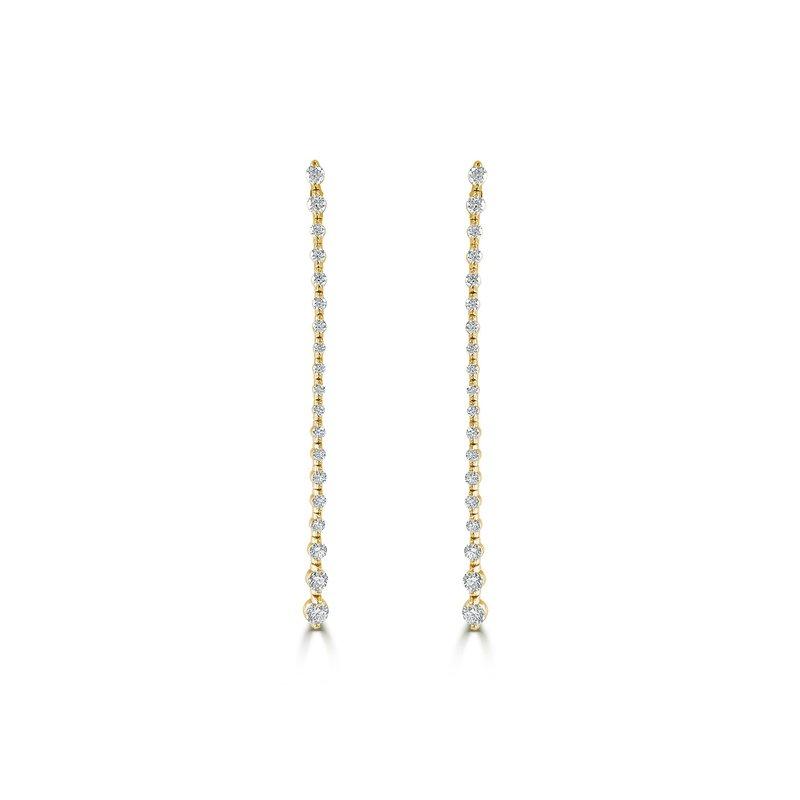 14K Gold Diamond Long Drop Earrings