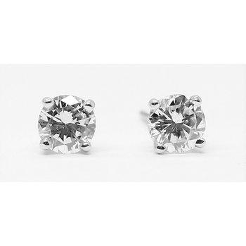 14K White Gold .65ctw Round Diamond Studs