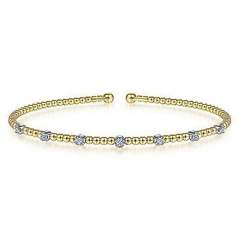 14K White-Yellow Gold Bujukan Bead Cuff Bracelet with Diamond Stations