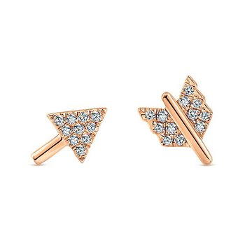 14K Rose Gold Diamond Arrow Earrings
