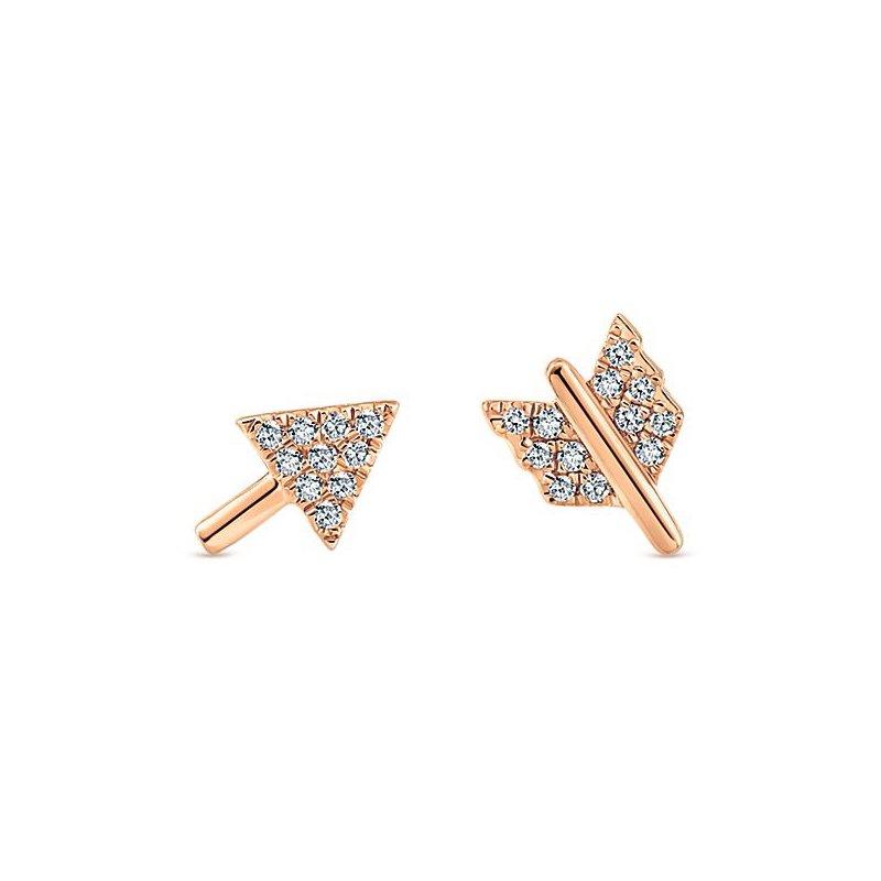 14K Rose Gold Diamond Arrow Earrings
