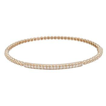 14K Rose Gold Diamond Beaded Bangle Bracelet