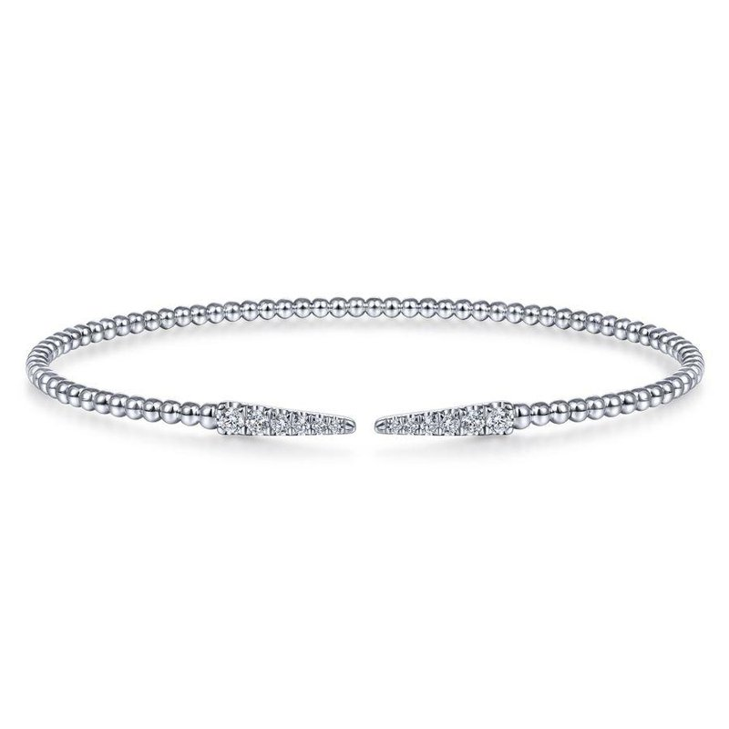 14K White Gold Tapered Cuff Bracelet