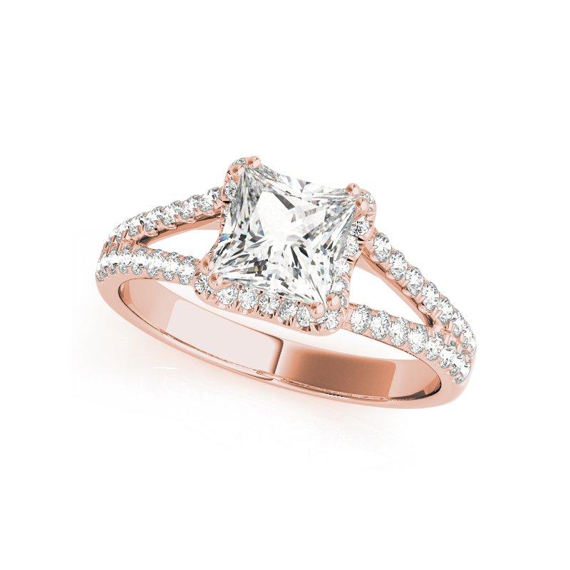 Split Halo Princess Cut Engagement Ring