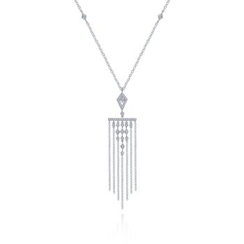 14K White Gold Diamond Dangle Pendant