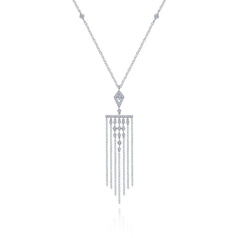 14K White Gold Diamond Dangle Pendant