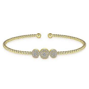 14K Yellow Gold Bujukan Bead Cuff Bracelet with Pavé Diamond Stations