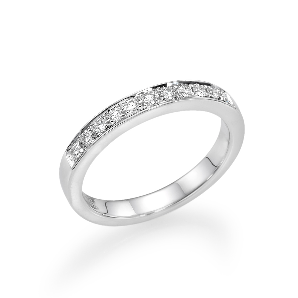 18K White Gold Wedding Band .23Ctw