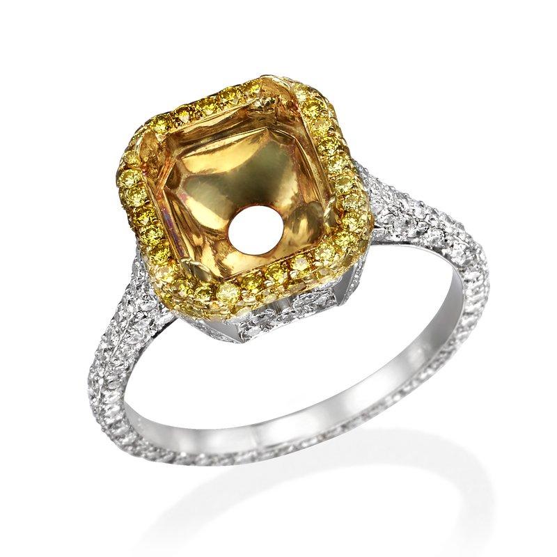 Platinum Two-Tone Halo Engagement Ring Mounting