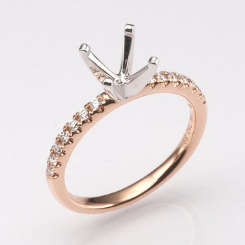 18K Rose Gold .21Ctw Diamond Mounting