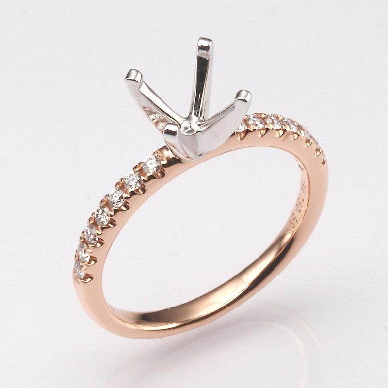 18K Rose Gold .21Ctw Diamond Mounting