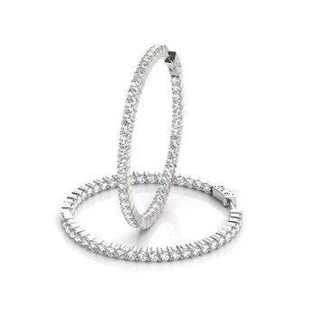 14K White Gold Inside Out Diamond Hoops