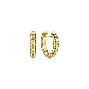 14K Yellow Gold Textured Huggies