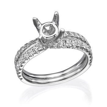 18K White Gold Double Band Diamond Engagement Ring Mounting
