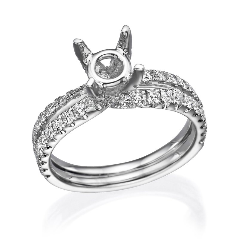 18K White Gold Double Band Diamond Engagement Ring Mounting