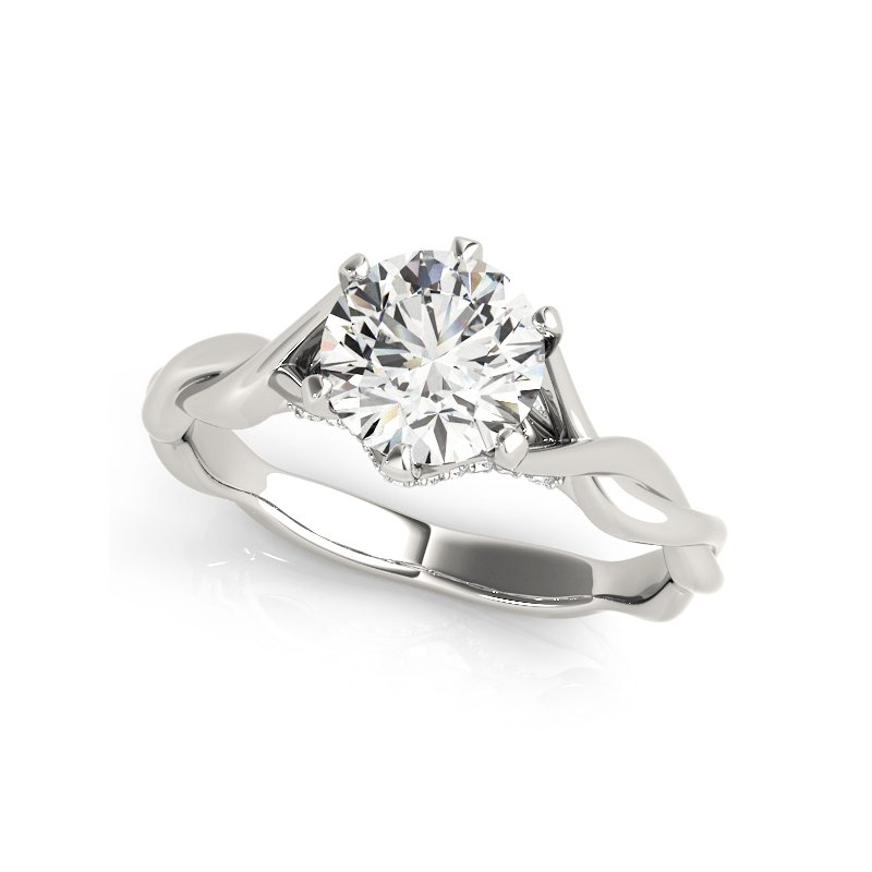 Twisted Round Solitaire Engagement Ring Mounting