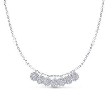 14K White Gold Multiple  Diamond Disc Necklace