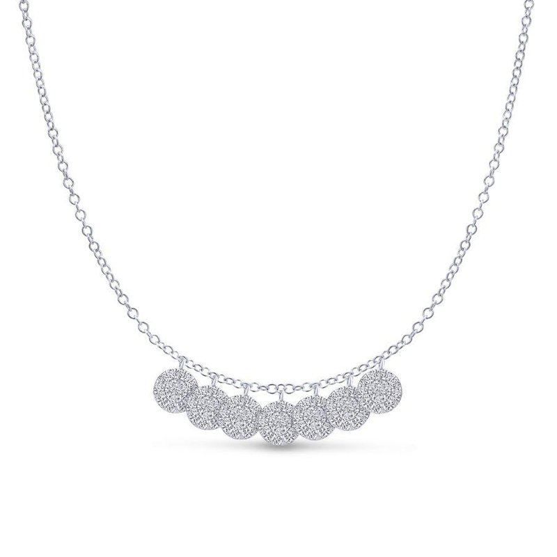 14K White Gold Multiple  Diamond Disc Necklace